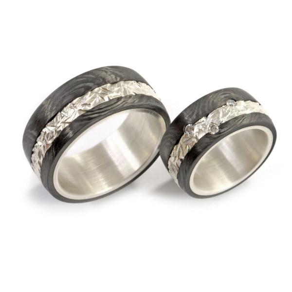 Eheringe Silber Carbon Struktur Brillanten (1007567)