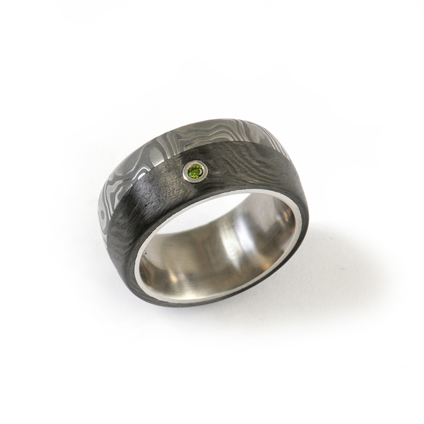 Verlobungsring Damaszenerstahl Carbon Stahl Brillant grün (1007736)