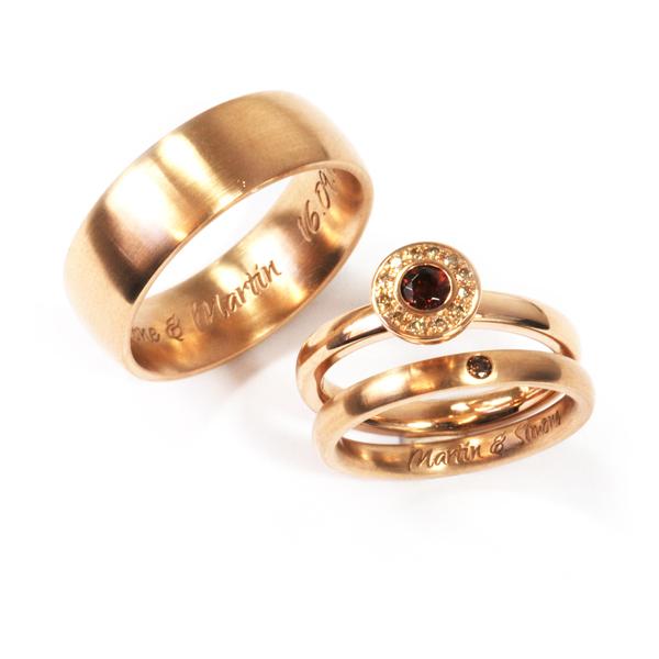 Verlobungsring mit Ehering Rotgold Brillant Granat (1007816.1)