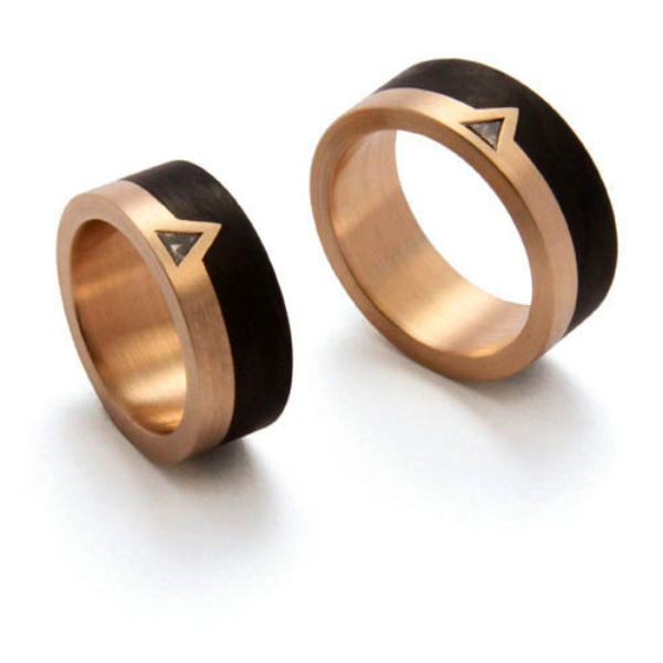 Trauringe Carbon Roségold Triangel Diamant (250010)